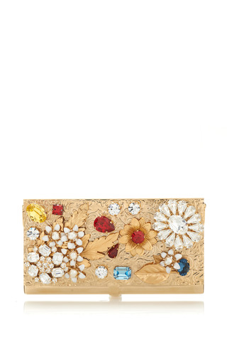 Medium dolce gabbana metallic gold leaf decorated mini bag