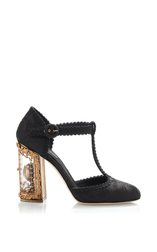 Medium dolce gabbana black black jacquard t strap mary jane with window pane pump