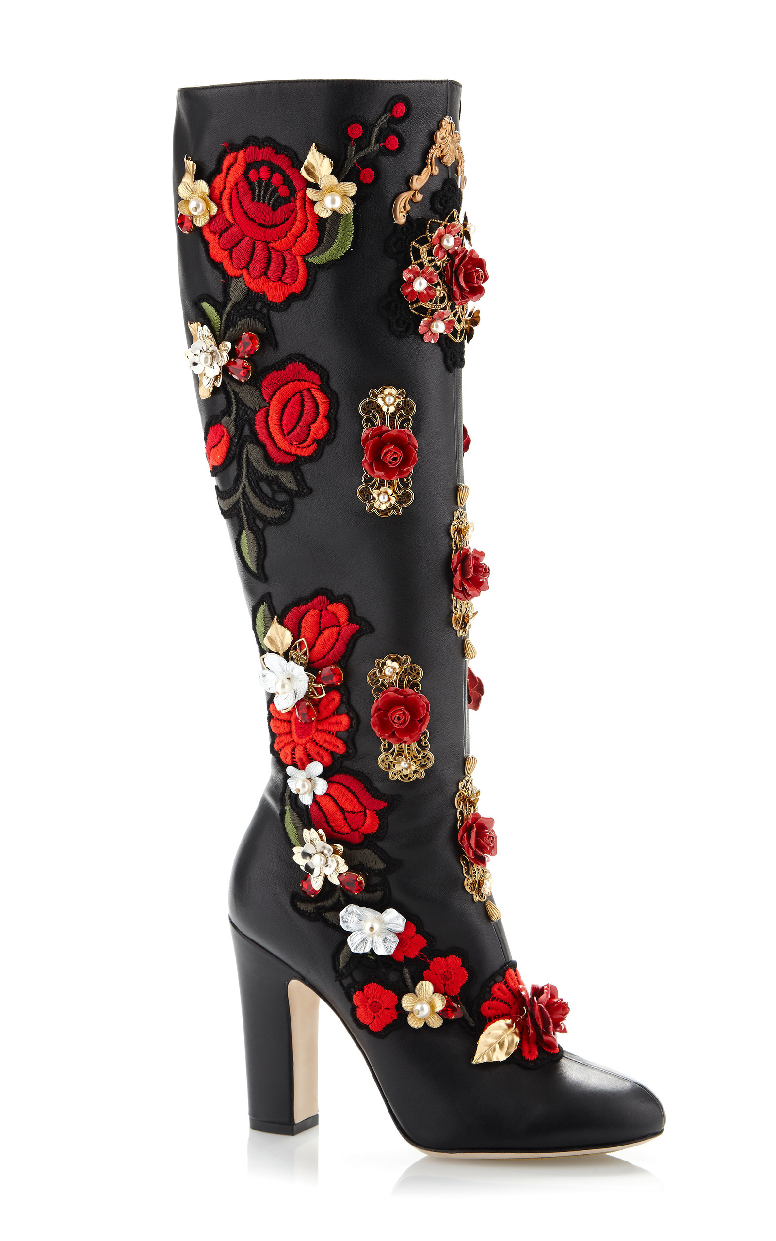 Rose embroidered high nappa boot by dolce moda operandi