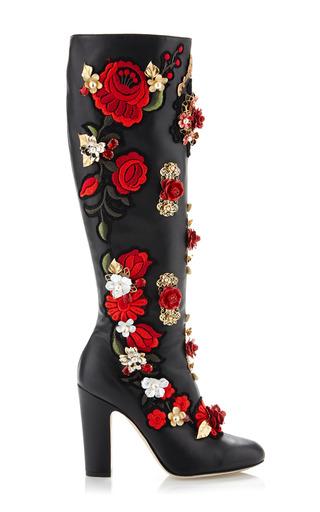 Medium dolce gabbana black rose embroidered high nappa boot