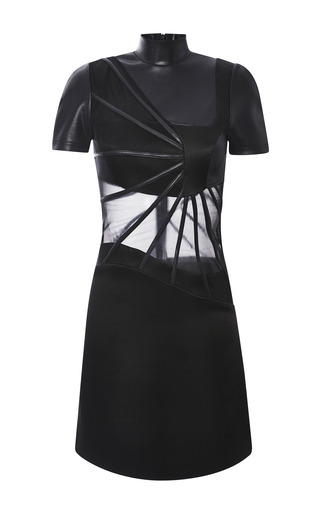Medium christopher kane black black turtleneck abstract boning dress