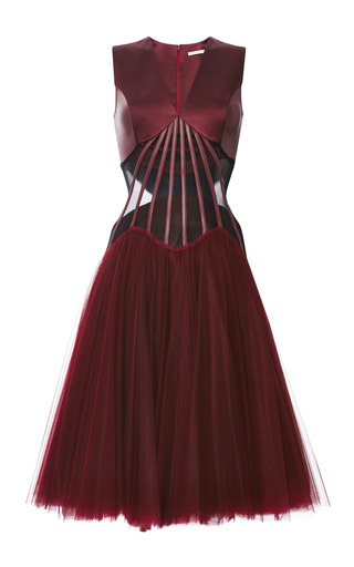 Medium christopher kane burgundy abstract boning dress with full tulle skirt