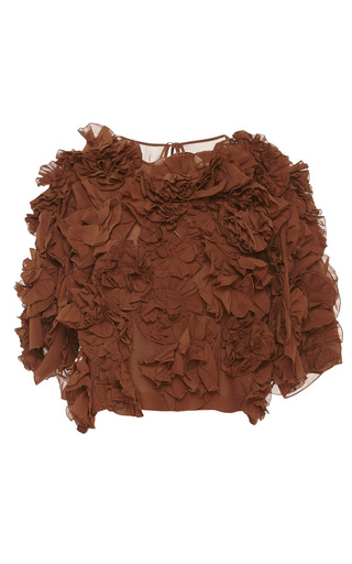 Medium jonathan saunders brown cacao josephine top