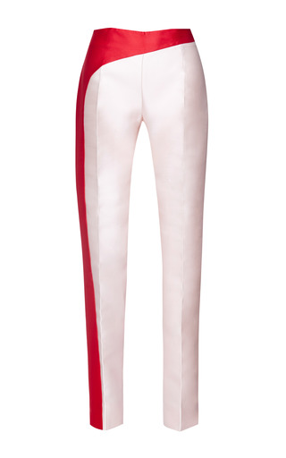 Medium antonio berardi red light pink duchess pant with red stripe