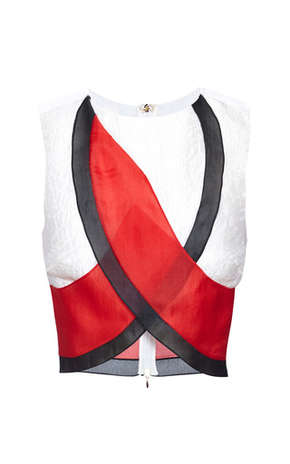 Medium antonio berardi red optical white multicolor crop top