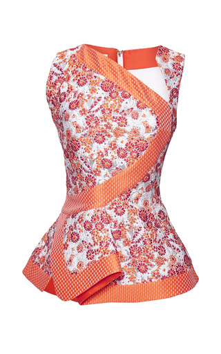 Medium antonio berardi pink orange and dusty pink peplum top