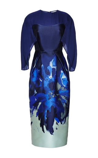 Medium antonio berardi multi electric blue sheath dress with cape sleeve