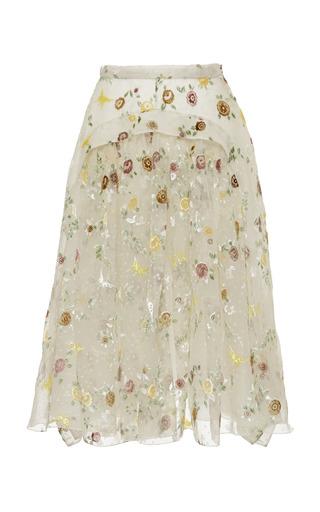 Medium rochas multi hand painted velvet jacquard draped a line skirt