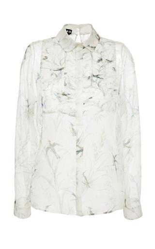 Medium rochas multi bird print chiffon pintuck bib blouse