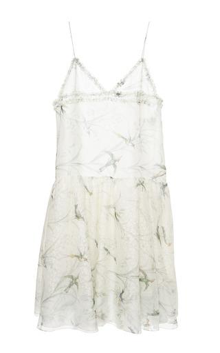 Medium rochas print bird print chiffon slip dress with macrame flower skirt