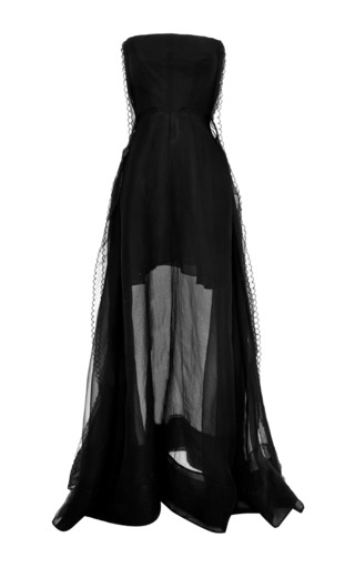 Medium rochas black strapless black gown with scalloped trim
