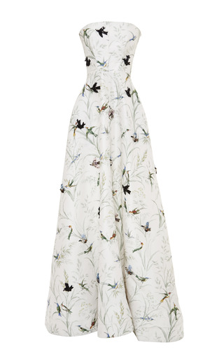 Medium rochas multi embroidered bird print silk faille strapless gown