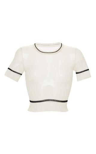 Medium rochas white cream knit crop top