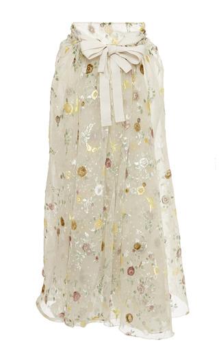 Medium rochas multi hand painted velvet jacquard faux wrap skirt