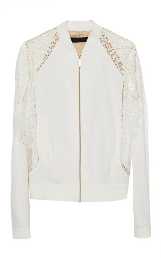 Medium elie saab white white stretch cady and lace jacket