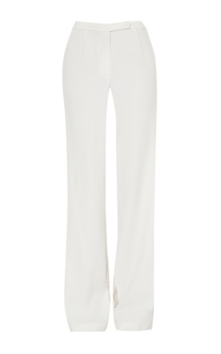 Medium elie saab white white stretch cady and lace pant