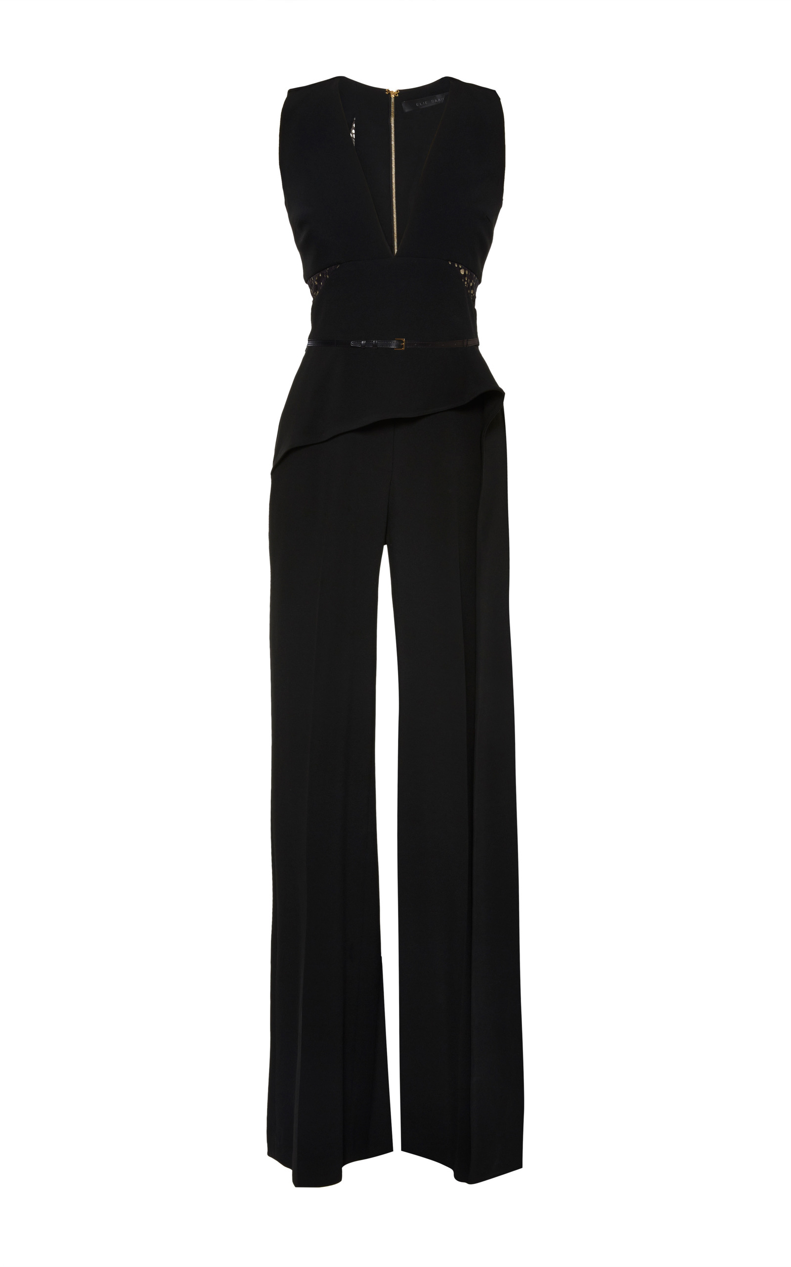 db61f5d4cec6 Black Stretch Cady And Lace Jumpsuit by Elie Saab