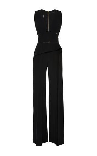 Medium elie saab black black stretch cady and lace jumpsuit