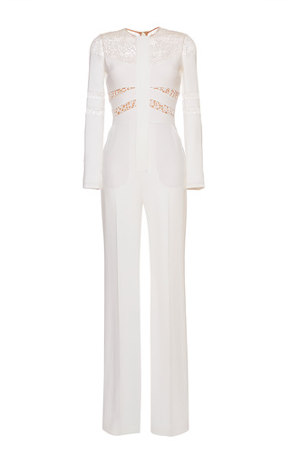 Medium elie saab white white stretch cady and lace jumpsuit
