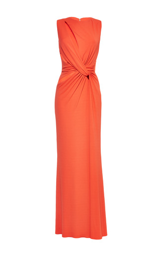Medium elie saab orange orange jersey twisted knot dress