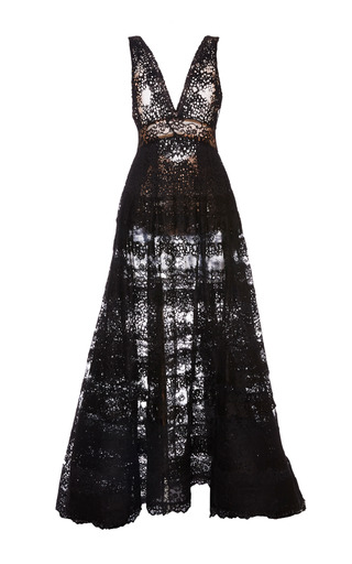 Medium elie saab black black lace deep v neck gown