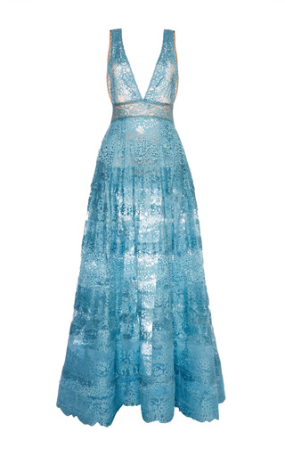 Medium elie saab blue blue lace deep v neck gown