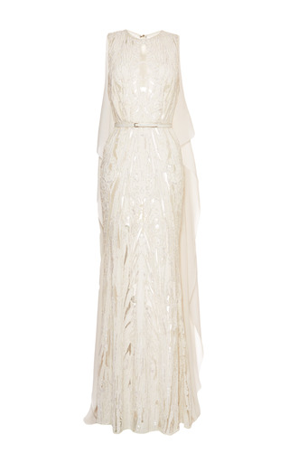 Medium elie saab white embroidered white double silk georgette gown