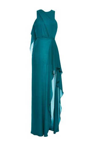 Medium elie saab green green double silk georgette draped dress