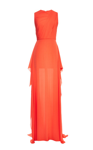 Medium elie saab orange orange double silk georgette dress
