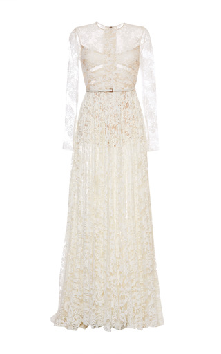 Medium elie saab white white lace long sleeve gown