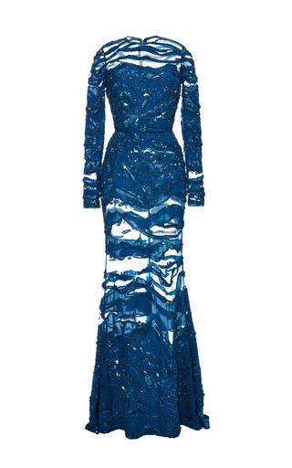 Medium elie saab blue embroidered blue double silk georgette gown