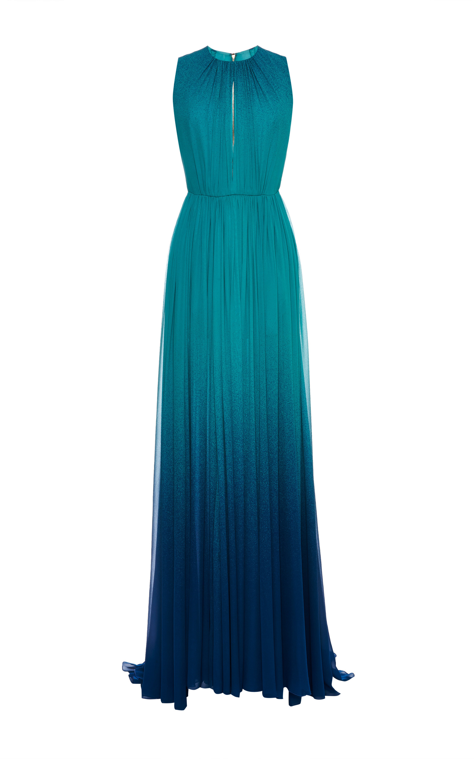 Turquoise Degrade Silk Georgette Dress By Elie Saab Moda
