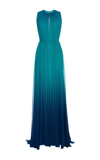 Medium elie saab blue turquoise degrade silk georgette dress
