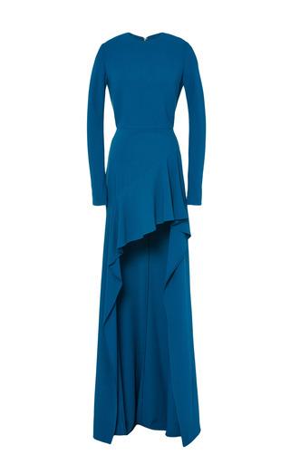 Medium elie saab blue blue stretch cady long sleeve dress