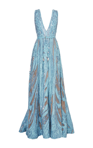 Medium elie saab blue embroidered light blue double silk georgette gown