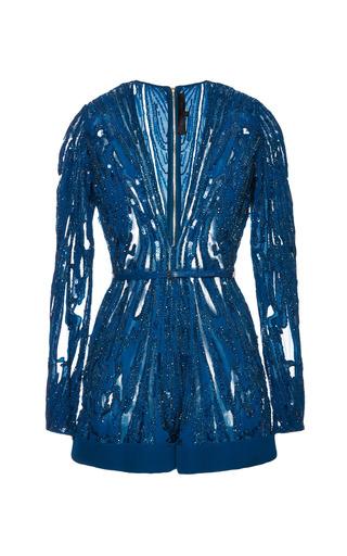 Medium elie saab blue embroidered blue double silk georgette jumper
