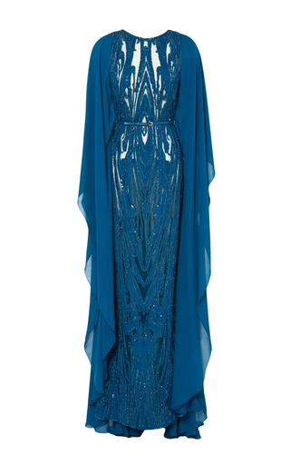 Medium elie saab blue embroidered blue double silk georgette butterfly sleeve gown