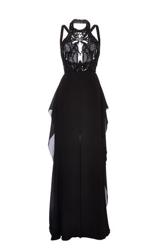 Medium elie saab black embroidered black double silk georgette dress