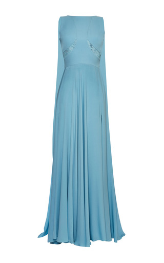 Medium elie saab blue blue double silk georgette and lace gown