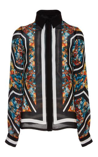 Medium elie saab print printed double silk georgette long sleeve blouse