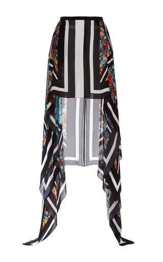 Medium elie saab print printed double silk georgette fishtail skirt