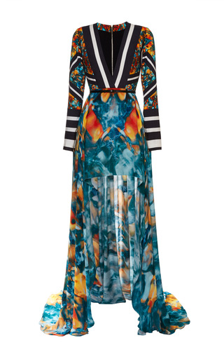 Medium elie saab print printed double silk georgette and stretch cotton v neck dress