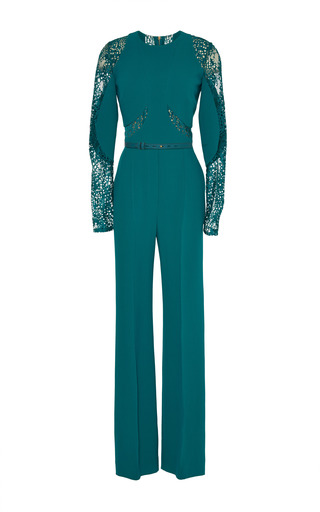 Medium elie saab green green stretch cady and lace jumpsuit