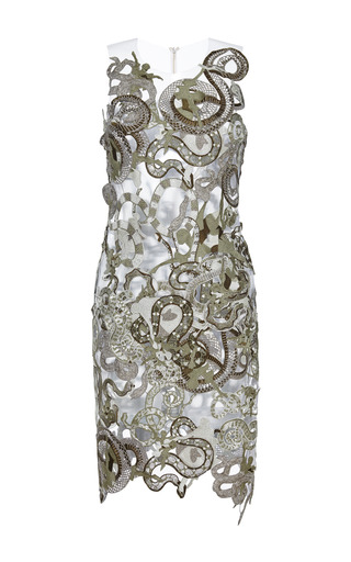 Medium mary katrantzou brown snake lace dress in khaki