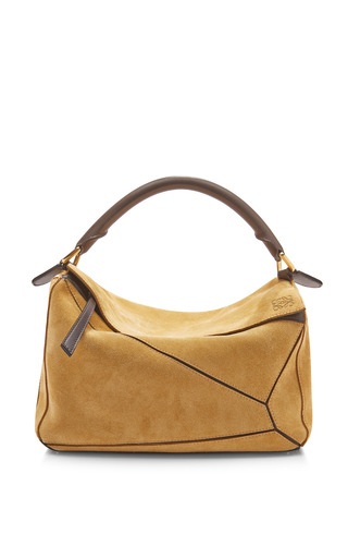Medium loewe gold gold suede puzzle small bag