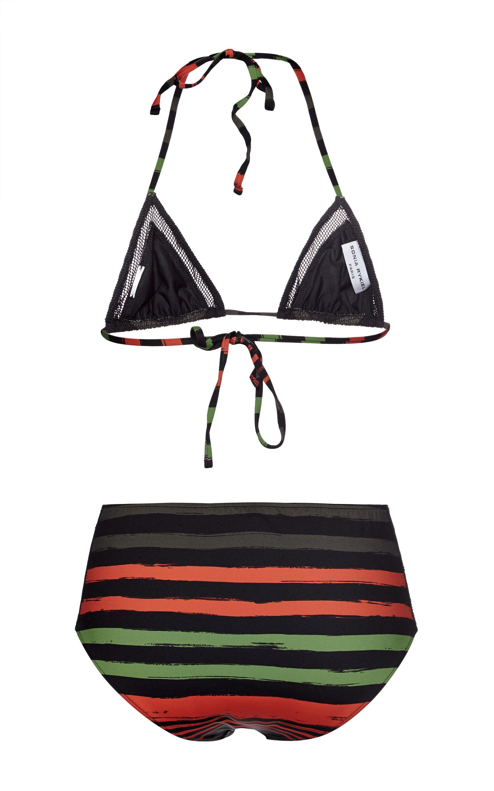 56cd24a70c1 Sonia RykielBlack Tangerine Striped Mesh Beachwear Bikini Top. CLOSE.  Loading