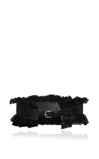 Medium isabel marant black sunny leather fauna belt in black