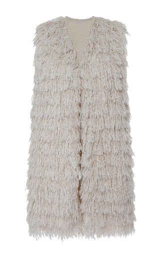 Medium isabel marant white summer fur alfie gilet in ecru