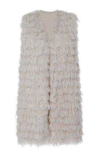 Medium isabel marant white summer fur alfie gilet in ecru