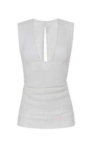 Medium isabel marant white cotton gauze garron top in white